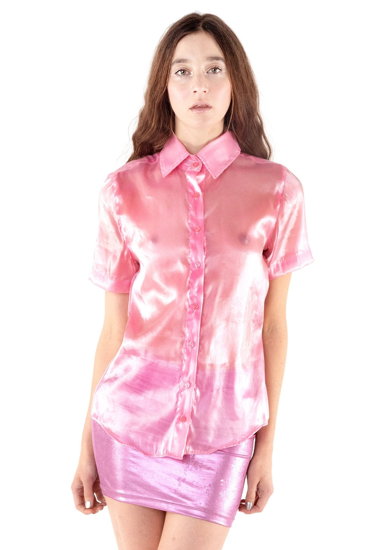 S0 C-THRU BUTTON UP BLOUSE