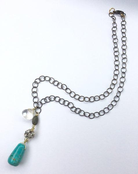 Turquoise Sparkle Mixed Metal Necklace
