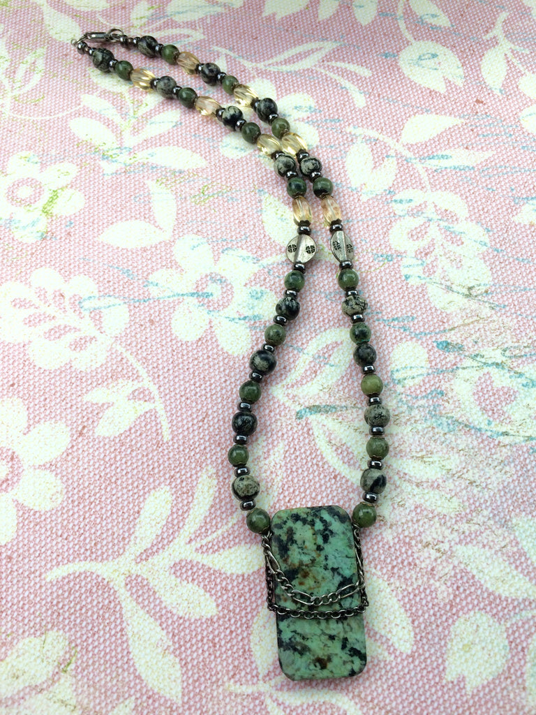 Green Earthy Jasper Necklace