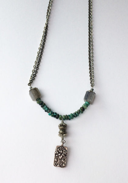 Turquoise Labradorite Pyrite Mixed Metal Necklace Lotus Pendant