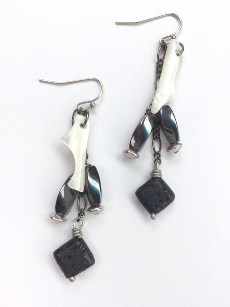 Black Lava Gray Hematite White Mother of Pearl Earrings