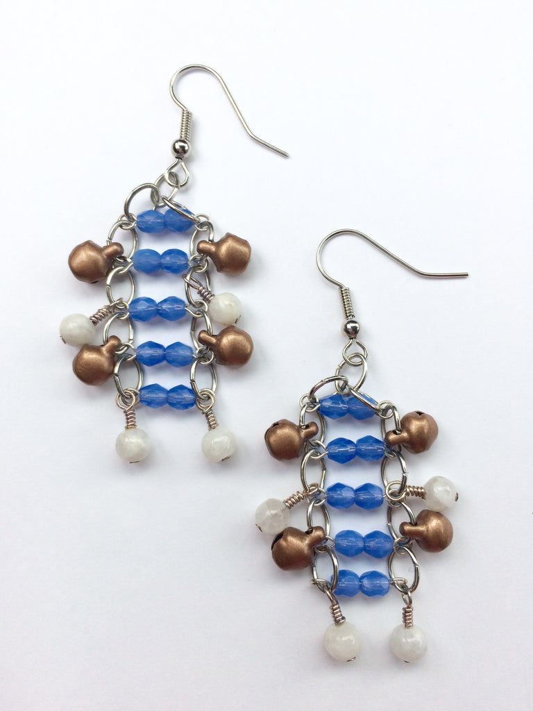Dancing Bell Earrings Blue Glass White Moonstone