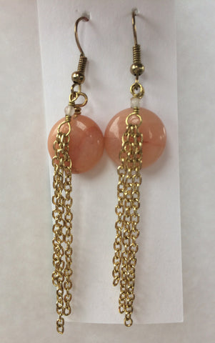 Peach Aventurine Gold Chain Earrings