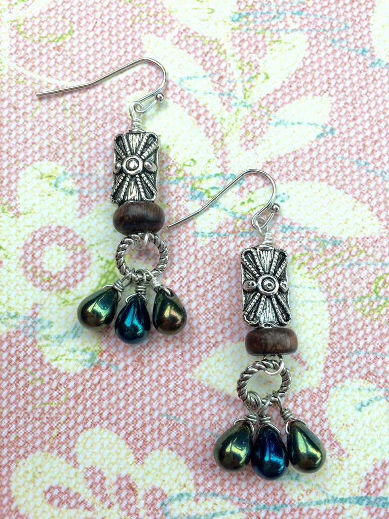 Blue Green Wood Glass and Silver Earrings