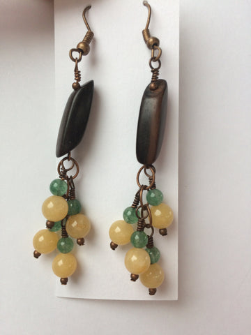 Antique Copper Yellow Jade Green Aventurine Wood Earrings Natural Earthy