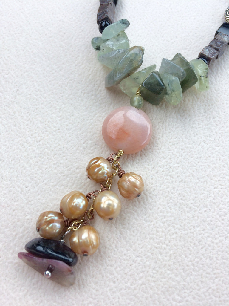 Unique Pearl and Gemstone Y Necklace