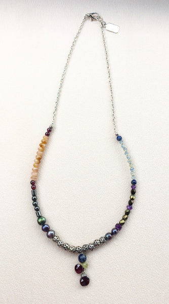 Mixed Stone Necklace Garnet Briolette Drops Lapis Peridot Amethyst Hematite