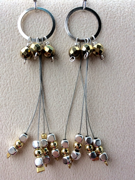Gold and Silver Dangle Earrings