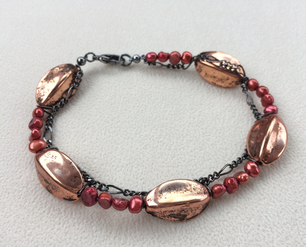 Copper Russet Red Pearls Gunmetal Chain Bracelet