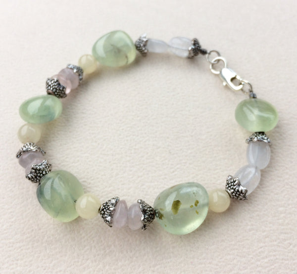 Prehnite Yellow Jade Rose Quartz Bracelet