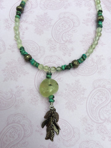 Prehnite Leaf Necklace Turquoise Pyrite Gemstones