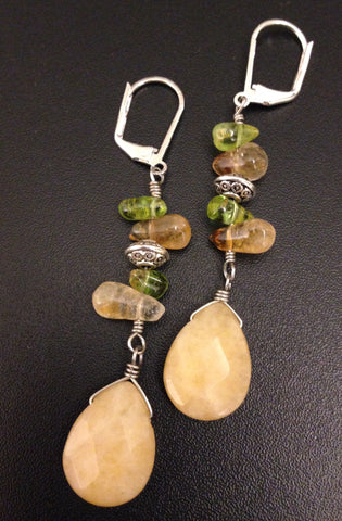Citrine Peridot Earrings Silver