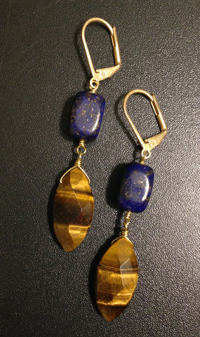 Tiger's Eye Lapis Gold Earrings