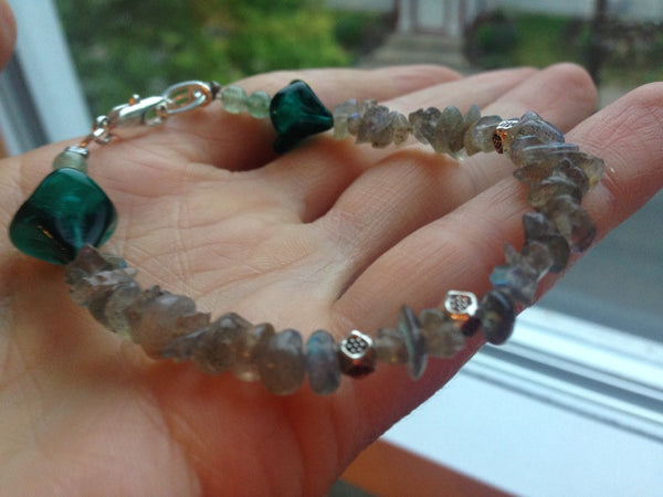 Labradorite Bracelet Teal Czech Glass Bellflowers Green Aventurine Silver Earthy