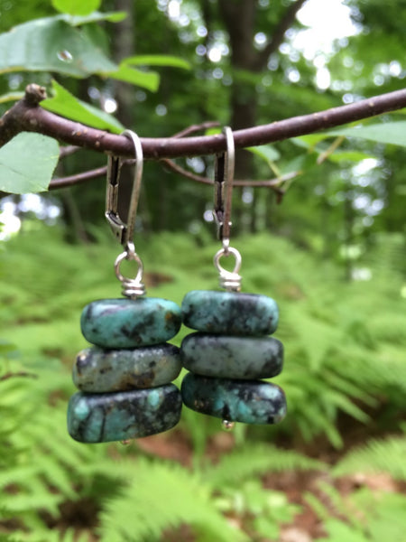 African Turquoise Earrings Matte Jasper Black Matrix