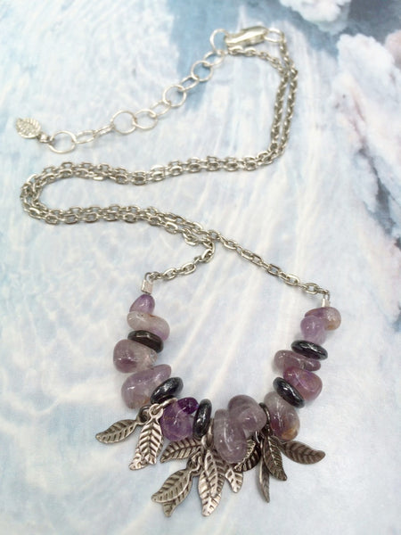 Amethyst Leaf Necklace Hematite Silver