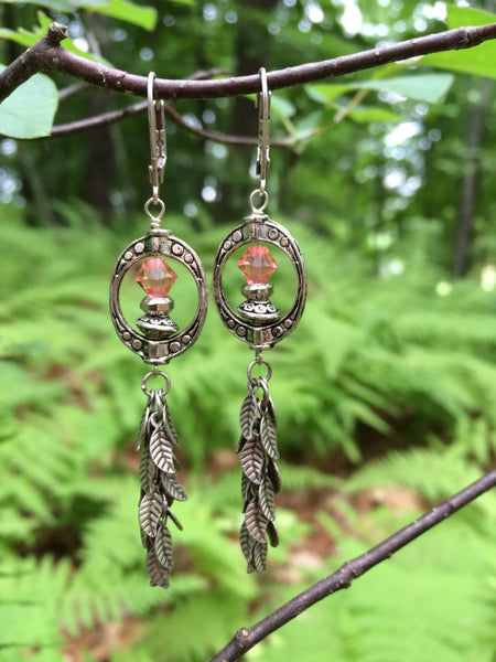 Antique Silver Peach Earrings Rustic Natural Earthy