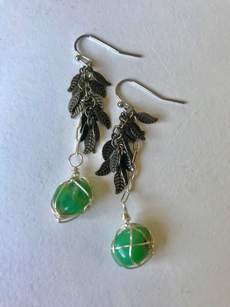Chrysoprase Feather Earrings