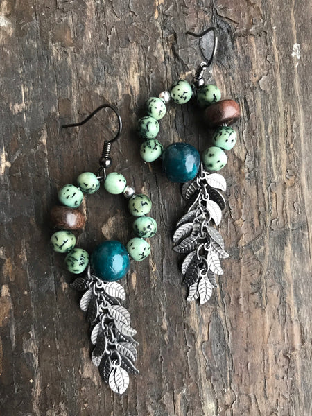 Natural Buri Bead Leaf Earrings