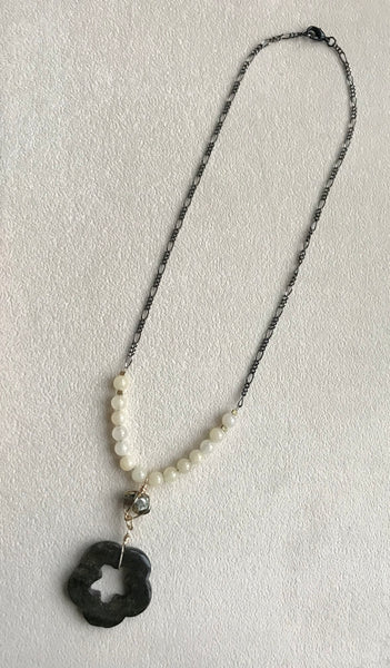 Yellow jade pyrite necklace