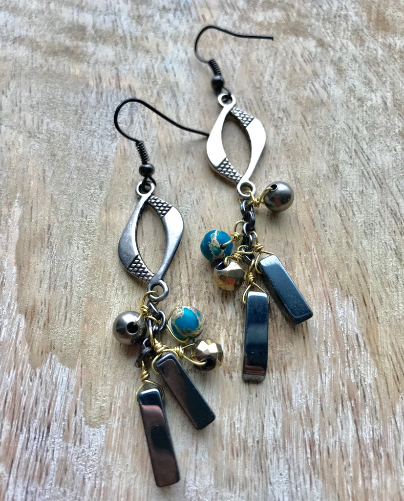Hematite gold blue dangle earrings