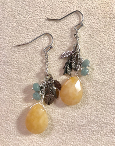 Yellow Jade Feather earrings