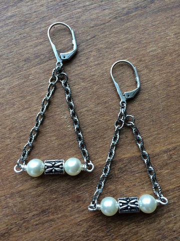 Pearl Silver Chain Earrings