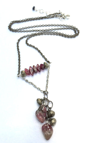 Garnet Pink Tourmaline Pyrite Mixed Metal Necklace