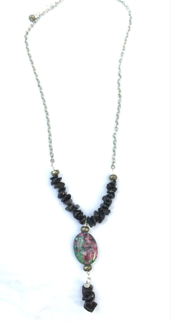 Ruby Zoisite Pyrite Black Jet Y Necklace