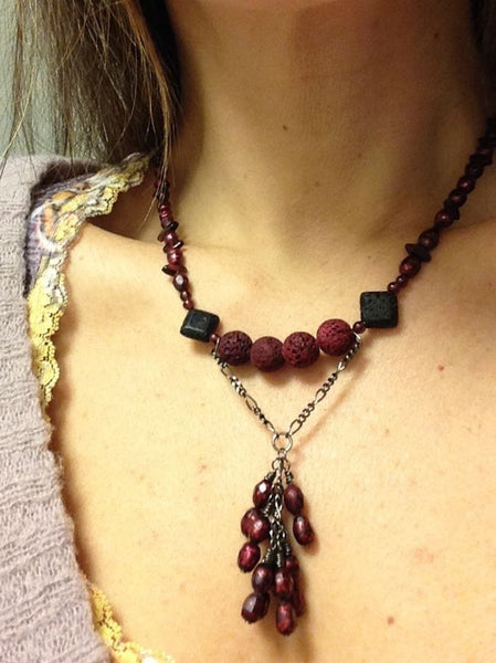 Wine Crush Garnet Necklace Lava Beads