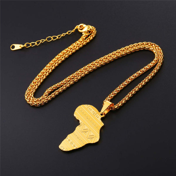 Stainless Steel Gold Rose Gold Color Map of Africa Pattern Pendant