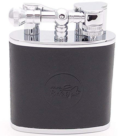 Mrs. Brog Huge Table Top Cigar Lighter - Black Leather - Twin Torch Flame