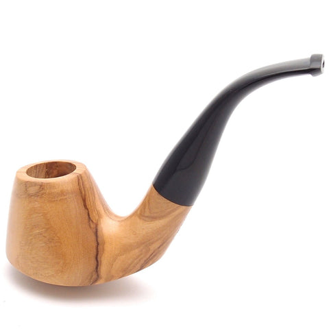 Mr. Brog Smoking Pipe - Olive Bent Natural - Italian Olive Wood - Hand Made Tobacco Pipe