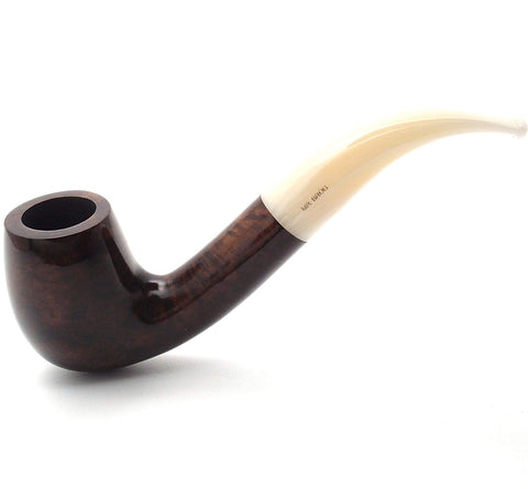 Mr. Brog Handmade Smoking Tobacco Pipe - Model No. 111 Walrus Tusk Walnut - Italian Briar Wood