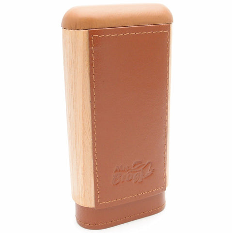 Spanish Cedar & Leather Robusto Cigar Case - Authentic Full Grade Buffalo Hide Leather
