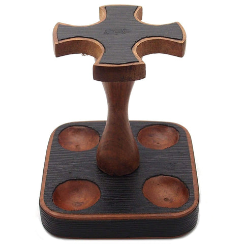 Leather 4 Pipe Stand - Authentic Full Grade Leather - Black