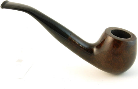 Mr. Brog Round Bent Tobacco Pipe - Model No: 65 Prince Walnut - Mediterranean Briar Wood - Hand Made