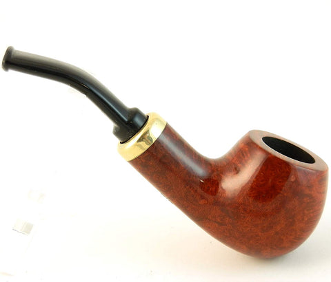 Mr. Brog Bent Bulldog Tobacco Pipe - Model No: 132 Rubel Pecan - Mediterranean Briar Wood - Hand Made