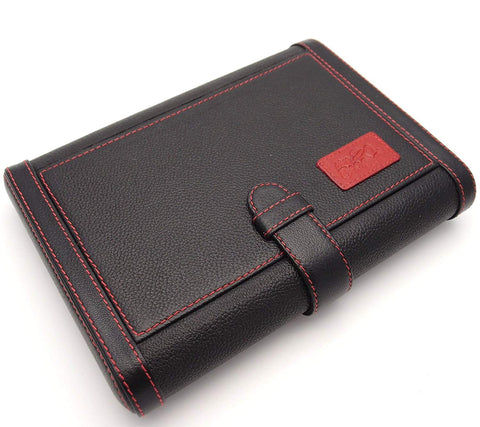 Travel Cigar Humidor Box Great Carry Along - Authentic Full Grade Cow Leather - Black & Red Stitch