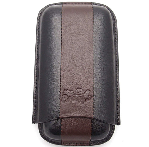 Cigar Case - Authentic Full Grade Buffalo Hide Leather - Black+Bordo