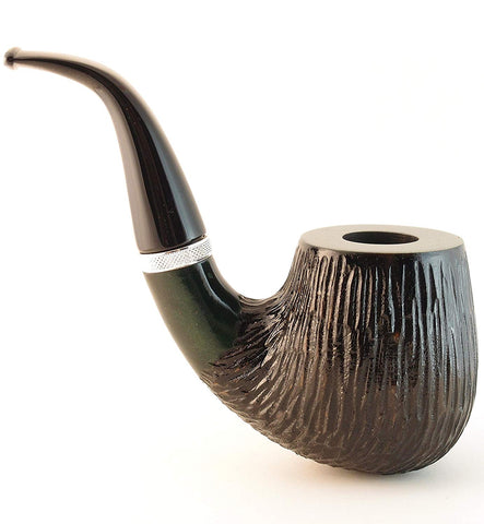Mr. Brog Churchwarden Tobacco Pipe - Model No: 300 Dyktator Green Ebony Rusticated - Pear Wood Roots - Hand Made