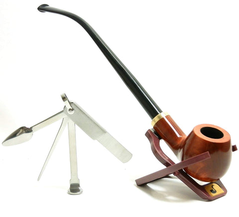 Churchwarden Tobacco Smoke Pipe Set - with Stand & 3-in-1 Tamper Tool- Hand Made by