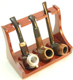 Tobacco Pipe Stand - 3 Pipe Rack - Sturdi Rose Wood