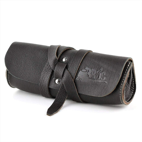 Mr. Brog Elegant Full Grain Leather Tobacco Pipe Pouch Rollup - (Small)