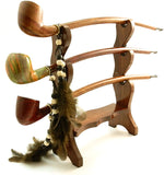 Tobacco Churchwarden Three Pipe Rack - For Extra Long Pipes - Holds Three Pipes