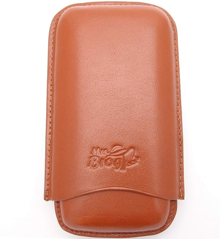 Three Cigar Leather Holder (Corona) - Authentic Full Grade Buffalo Hide Leather