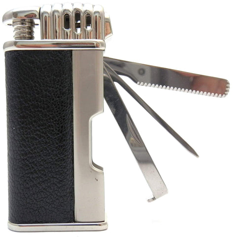 Leather Tobacco Pipe Lighter and Czech Tool - All in One - Model Silver Black