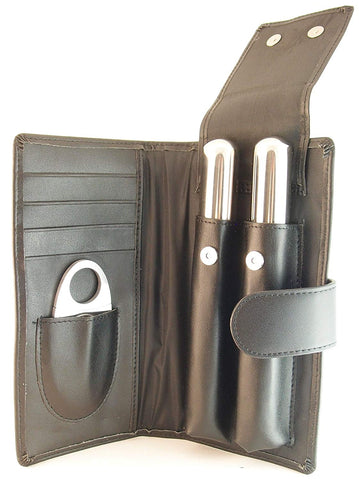 Leather Cigar Gift Set, 2 Humidor Tubes, Stainless Steel Cigar Cutter