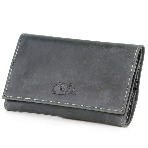 Pipe Tobacco Pouch with White Stitch - Diesel Leather - [Slate Black]