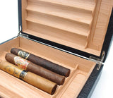Desktop Leather Cigar Humidor - Spanish Cedar Wood - Authentic Full Grade Leather